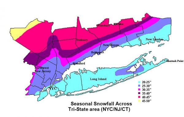 Winter NYC Colder Average Snowfall NYC WEATHER NOW - Average snowfall map us
