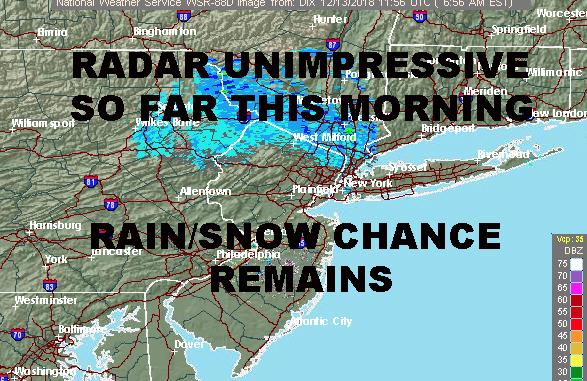 RADAR QUESTIONABLE NYC RAIN SNOW CHANCE REMAINS - NYC