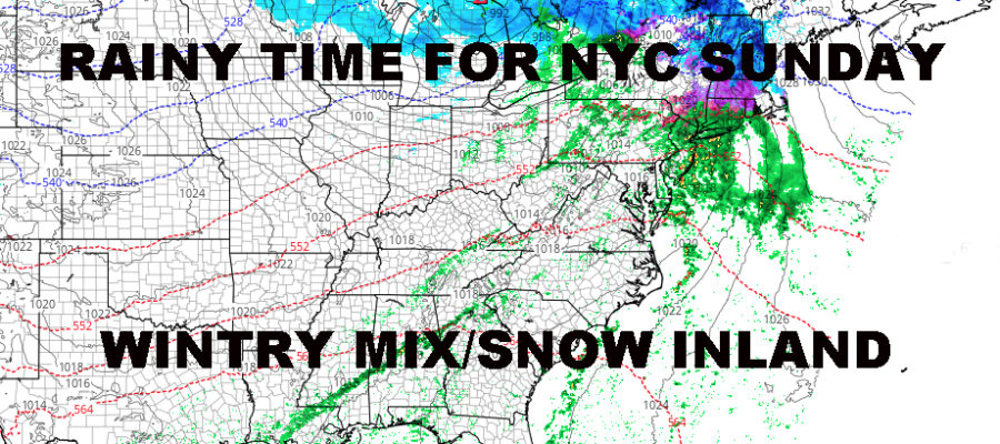 Nyc Rainy Sunday On Schedule Wintry Mix Inland Nyc Weather Now